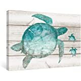 SUMGAR Wall Art Bathroom Blue Ocean Pictures Coastal Beach Canvas Paitings Teal Sea Turtle Wall Decor Turquoise Framed…