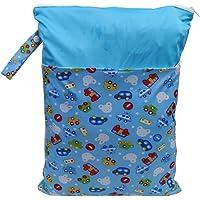 Prettyia Waterproof Zip Baby Infant Cloth Diaper Nappy Pouch Bag Travel Organizer - Blue