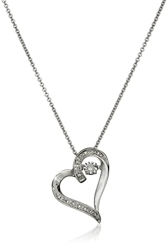 Amazon sterling silver dancing diamond accent heart pendant sterling silver dancing diamond accent heart pendant necklace 18quot aloadofball Image collections