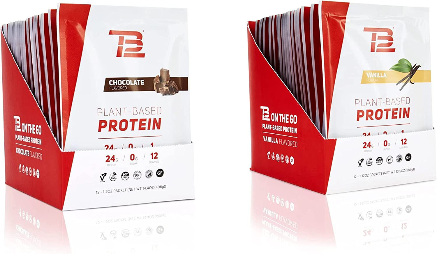 TB12 Plant Based Protein Powder, Vanilla & Chocolate Flavors - Vegan, 1g Net Carb, Non-GMO, Dairy-Free, Sugar-Free, Sustainably Sourced Pea Protein (1.12 Ounce, Pack of 12)