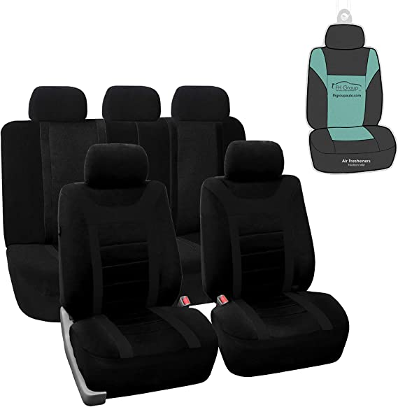 FH Group FB070115 Sports Seat Covers (Black) Full Set with Gift – Universal Fit for Cars Trucks & SUVs