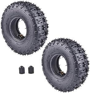 2 Pack of 4.10-4 410-4 4.10/3.50-4 Inner Tubes + Tires for Garden Rototiller Snow Blower Mowers Hand Truck Wheelbarrow Go Cart Kid ATV
