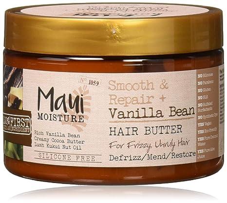 Amazon Com Maui Moisture Smooth Repair Vanilla Bean Anti Frizz Hair Butter Treatment Coconut 12 Ounce Beauty