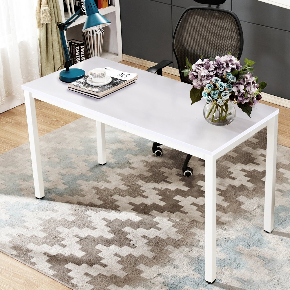 Dland 47'' Medium Computer Desk, Composite Wood Board, Decent & Steady Home Office Desk/ Workstation/ Table, BS1-120WW White & White Legs, 1 Pack by Dland (Image #4)