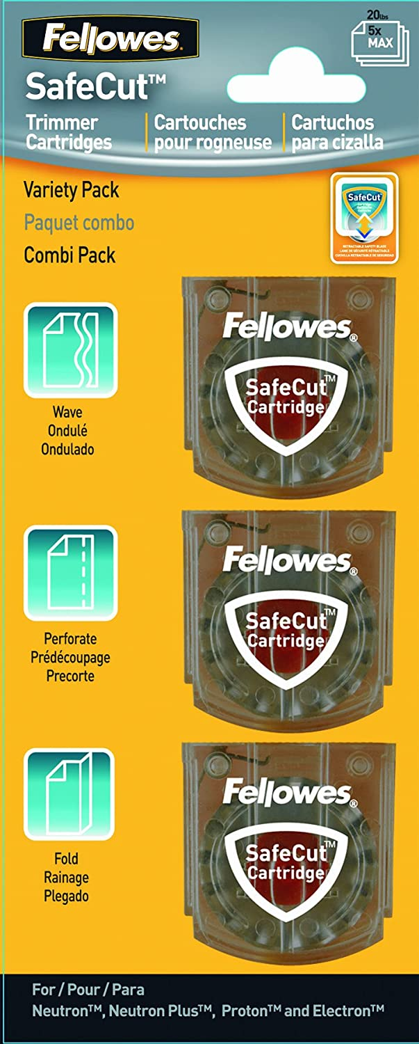Assorted 5411302 3 Pack Fellowes SafeCut Rotary Trimmer Blade Kit