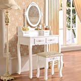 UEnjoy White Dressing Table High Quality Mirror Table Stool Set Makeup Table 4 Drawer