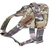 JiePai Tactical Dog Harness Large Breed-No Pull,Service Patrol Dog Vest Harness with Quick Release Buckle and Adjustable Strap,Nylon Harness for Large/Medium Dogs Training/Outdoor/Walking