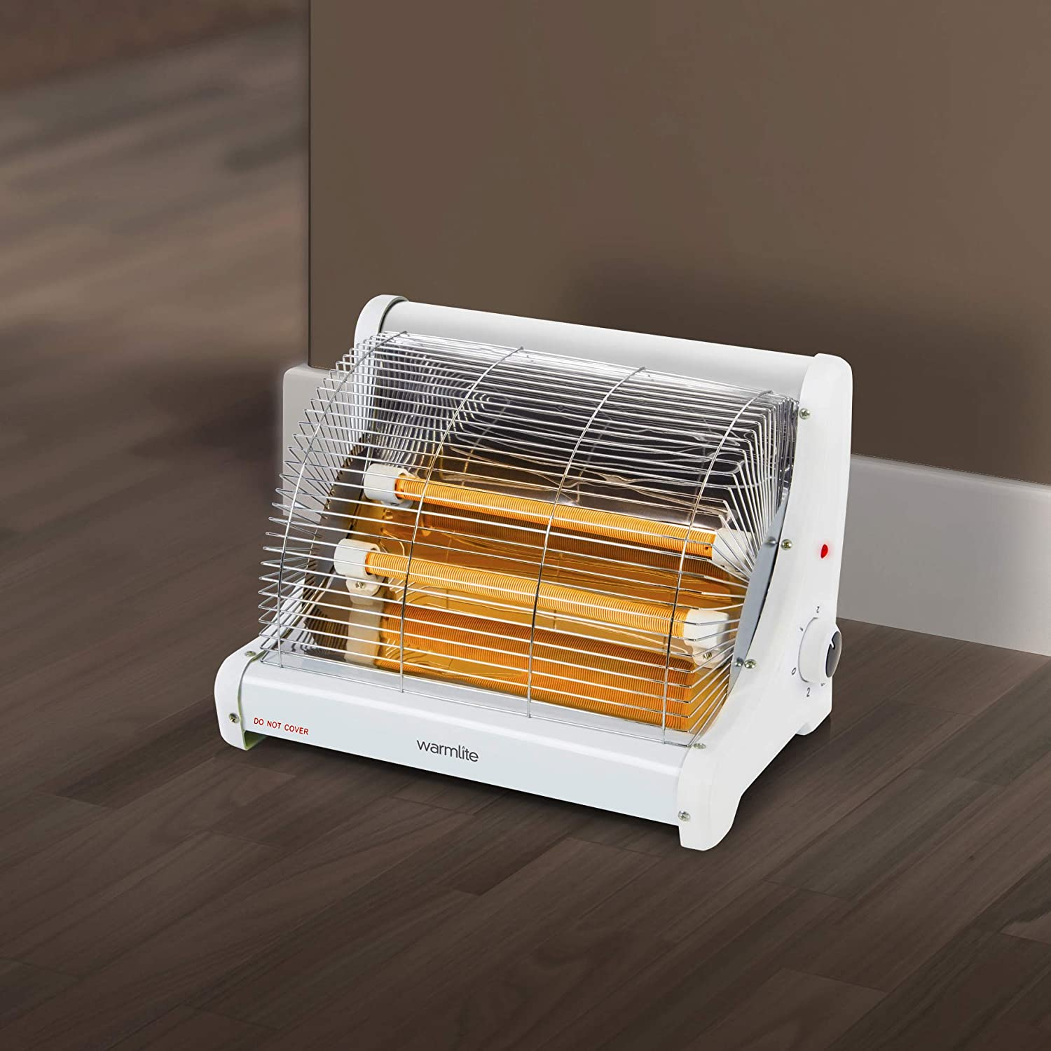 Warmlite Portable Radiant 2 Bar Heater with Ceramic Heating Elements, Adjustable Temperature, Anti tip Over Prevention Safety Feature, Free Standing