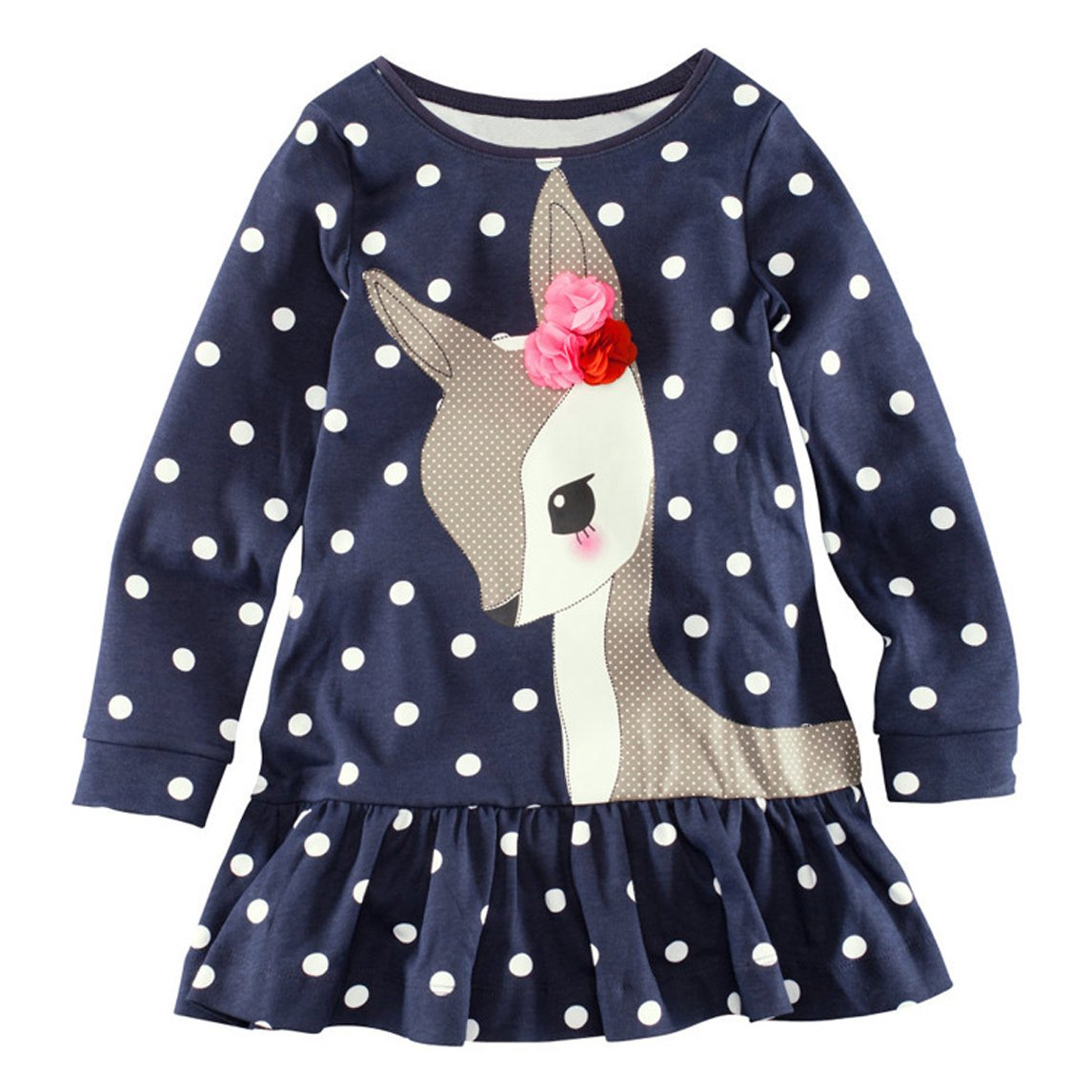 LEMONBABY Spring Fall Girls Sweet Cartoon Long sleeve dress