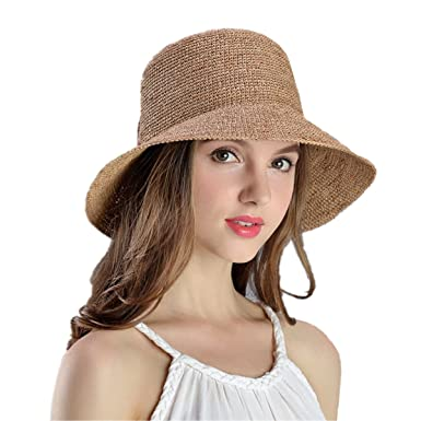 2c0be1364e08a Image Unavailable. Image not available for. Color: XINFU Women's Hand-Woven  Foldable UPF50+ Wide Brim Embroidery Raffia Straw Hat