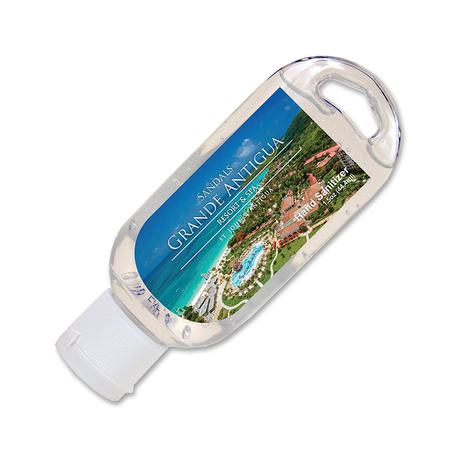 Customized Label Premium Hand Sanitizer—Bulk 100-Piece Pack—with Aloe Vera and Vitamin E for Moisturizers. Airline Approved 1.5 Oz Containers. Promotional Products for Business, Events.