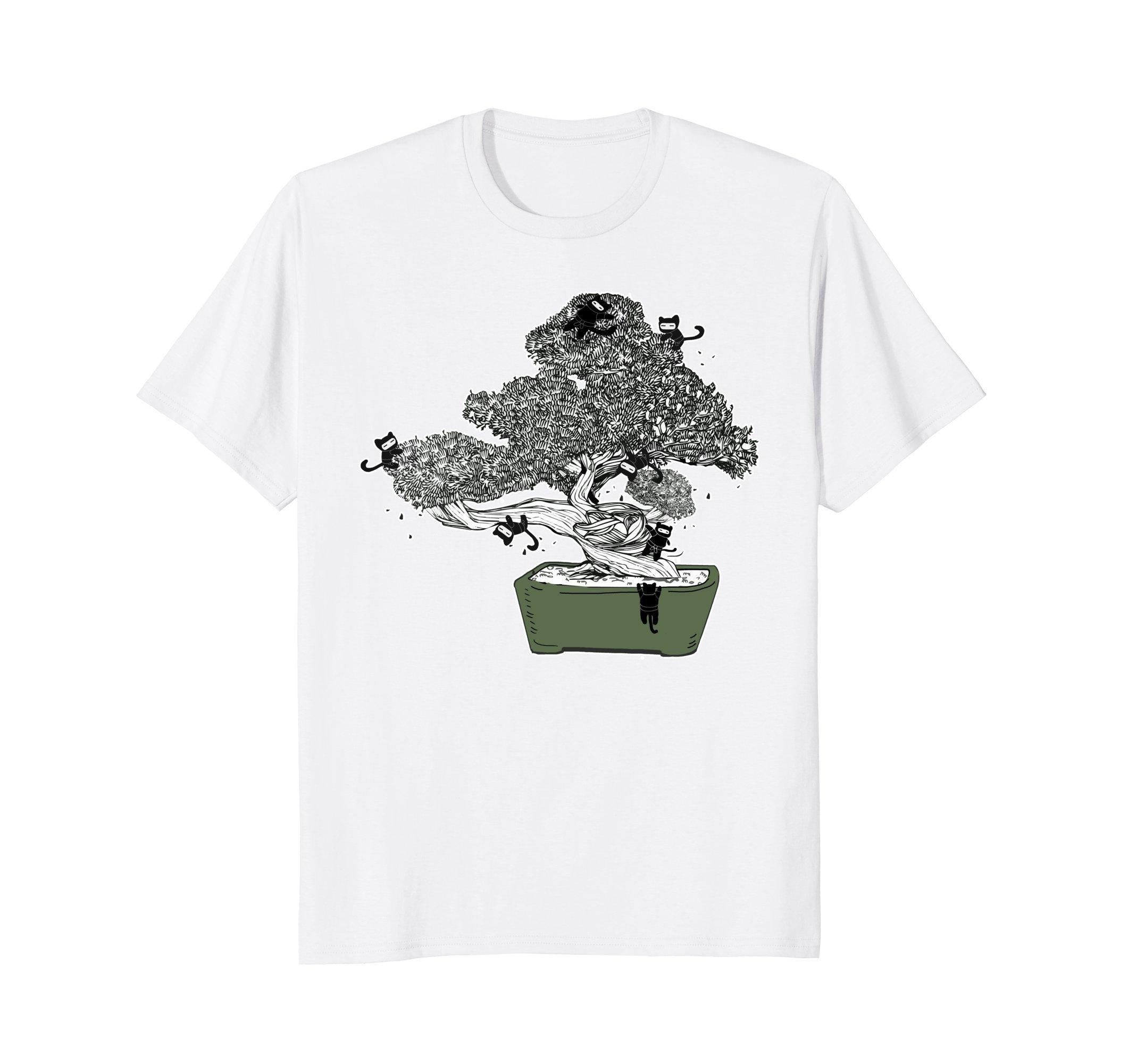 Ninja Kitty Cats Bonsai Tree Japanese Buddhist Zen Shirt by Zen Bonsai Tree Japanese Shirt by Crush Retro