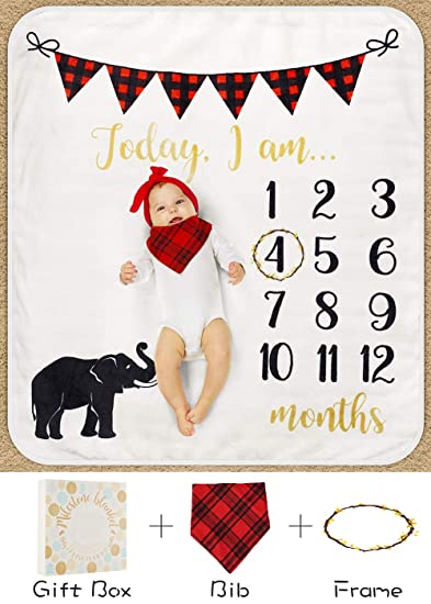 Amazon.com Baby Monthly Milestone Blanket for Boy Girl Mom Newborn Baby Shower Gifts Thick Fleece for Photography Memory + Bib+ Frame(Elephant Blanket ...  sc 1 st  Amazon.com & Amazon.com: Baby Monthly Milestone Blanket for Boy Girl Mom Newborn ...