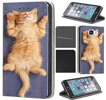CoverFix Premium Hülle für Samsung Galaxy A5 (Modell 2016) A510 Flip Cover Schutzhülle Kunstleder Flip Case Motiv (442 Katze