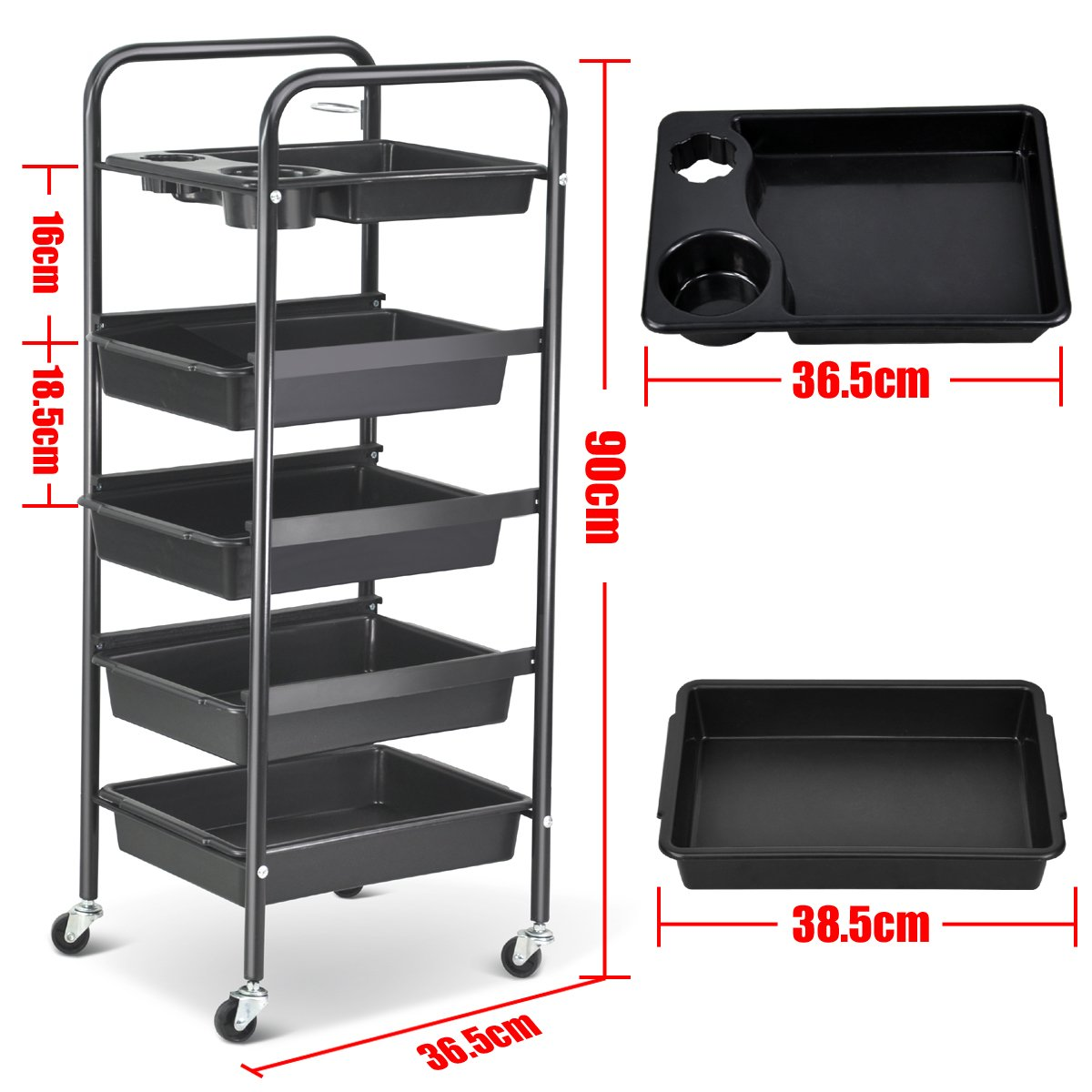 Popamazing Hair Salon 5 Tier Storage Tray Cart Hairdressing Trolley Black pop-67