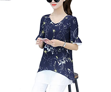 acb7099385a OUXIANGJU Women Summer Blouses Fashion Printed Tops Short Sleeve Chiffon  Large Size Floral Shirts