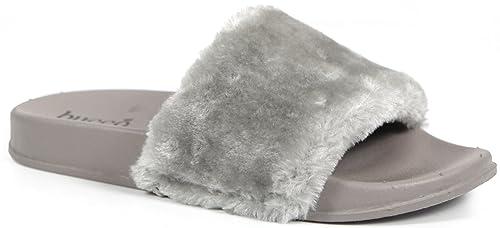 4ec4b8eaa77d Bucco Sliss Womens Fashion All-Vegan Adorable Super Comfy Faux Leather  Grain Faux Fur Slip
