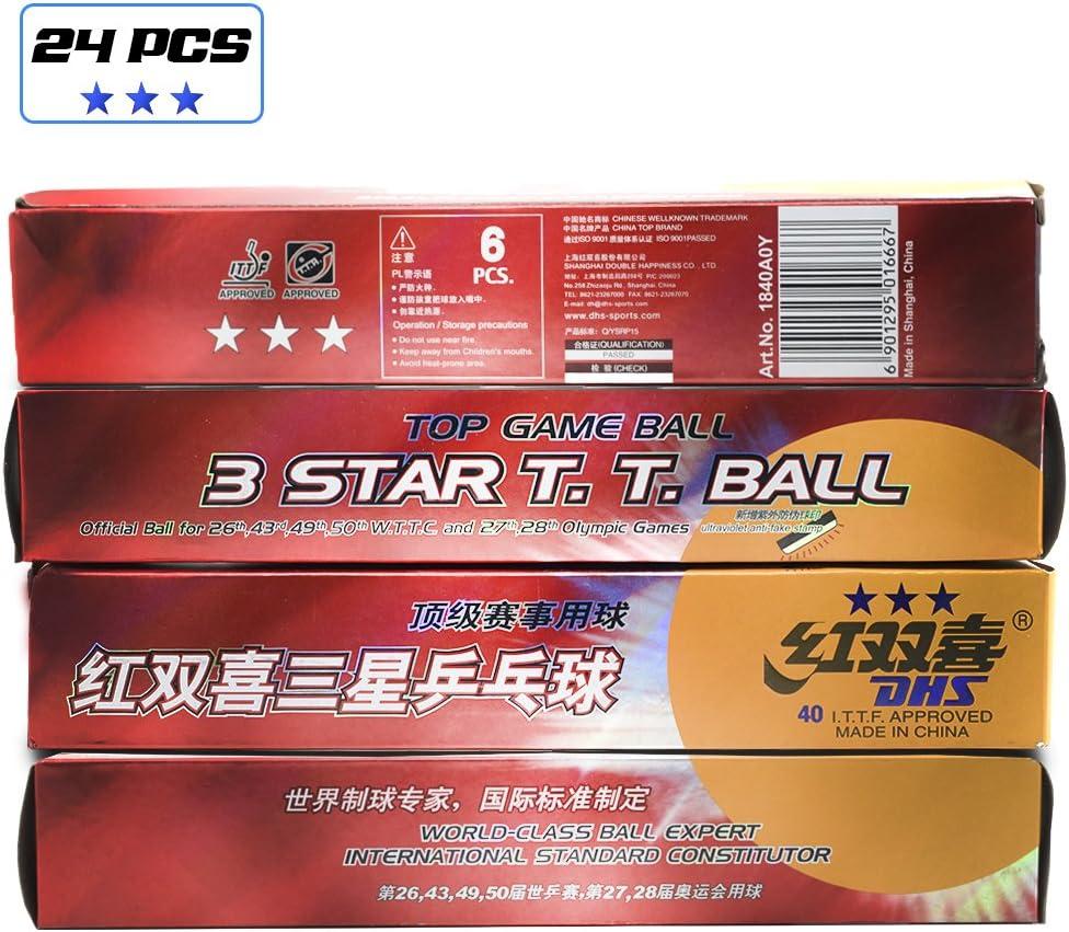 DHS - Pelotas de ping-pong de 3 estrellas, 40 mm, 24 paquetes, pelotas de ping pong, clase mundial experto de balón congresor estándar internacional