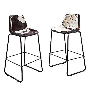 2er Set Design Barstuhl TORO hochwertiges Kuhfell schwarz weiß ...