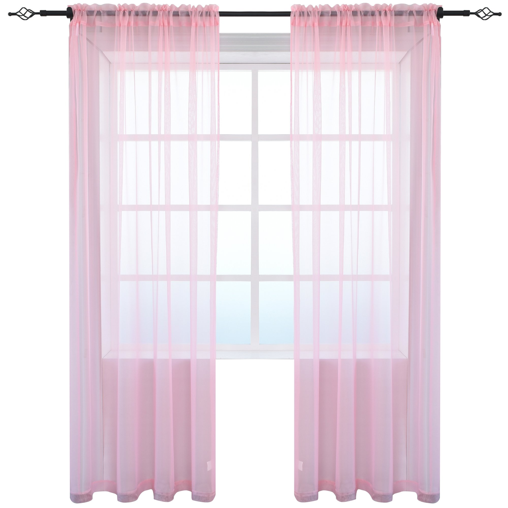 KEQIAOSUOCAI 2 Pieces Solid Color Sheer Rod Pocket Curtains Panels Bedroom Living room(Pink,52Wx84L,Set of 2)