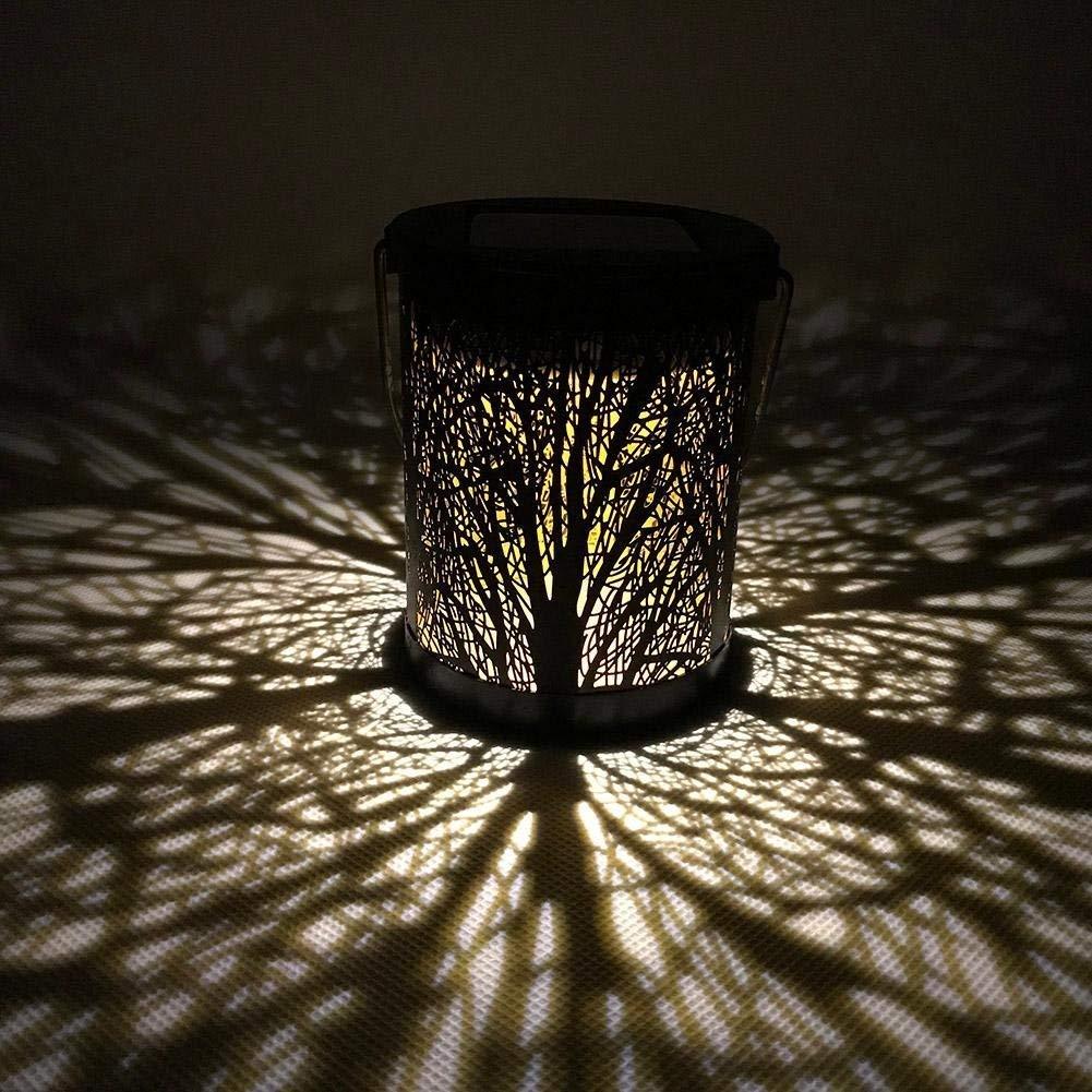 Whitelotous 2pcs/Set Metal Rattan Solar LED Hanging Lantern Lights IP44 Waterproof Outdoor Garden Yard Decor Lamps