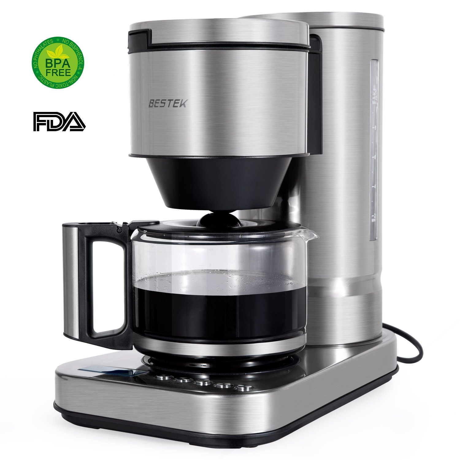 BESTEK 10 Cup Drip Coffee Maker in Stainless Steel, Programmable and Aroma Control, with Permanent Filter
