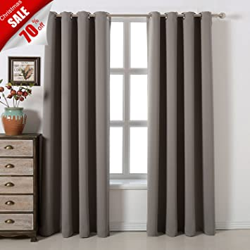 blackout bedroom curtains. Blackout Bedroom Curtains Set  C 100 Polyester Grommet Top Room Darkening Panels Amazon com