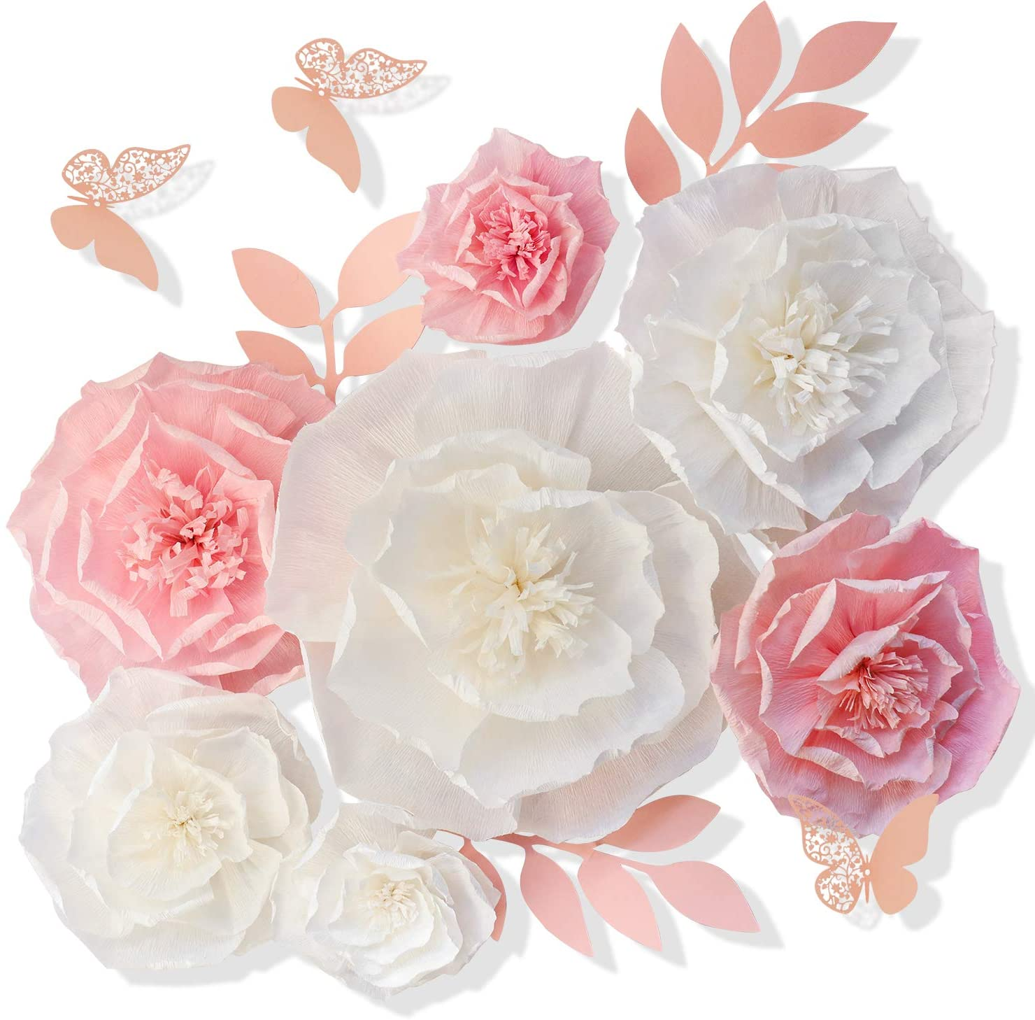 "13 Pieces 3D Paper Flowers Pink White with Trees 10"" 8"" 6"" 4"" Craft DIY Large Wall Decorations Pom Pom Giant Backdrop Photo Booth Baby Shower Decor Centerpiece Wedding Birthday Party Craft Art"