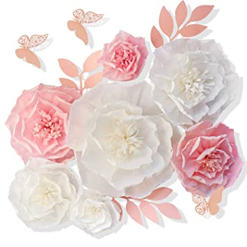 13 Pieces 3d Paper Flowers Pink White With Trees 10 8 6 4 Craft Diy Large Wall Decorations Pom Pom Giant Backdrop Photo Booth Baby Shower Decor