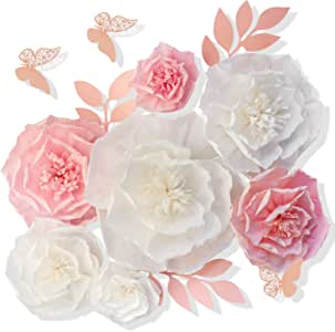 """13 Pieces 3D Paper Flowers Pink White with Trees 10"""" 8"""" 6"""" 4"""" Craft DIY Large Wall Decorations Pom Pom Giant Backdrop Photo Booth Baby Shower Decor Centerpiece Wedding Birthday Party Craft Art"""