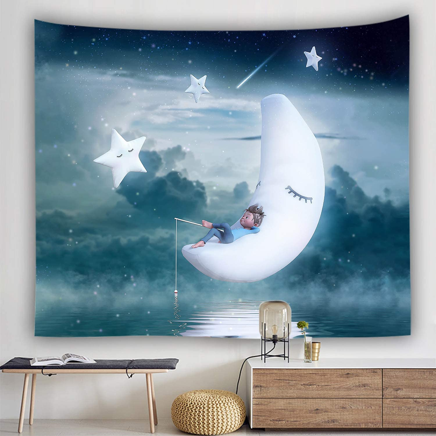 Ulogu Anime Tapestry for Boys Bedroom Aesthetic Wall Hanging Decor,Moon Sun Stars Space Sleep Lovely Cute Tapestry