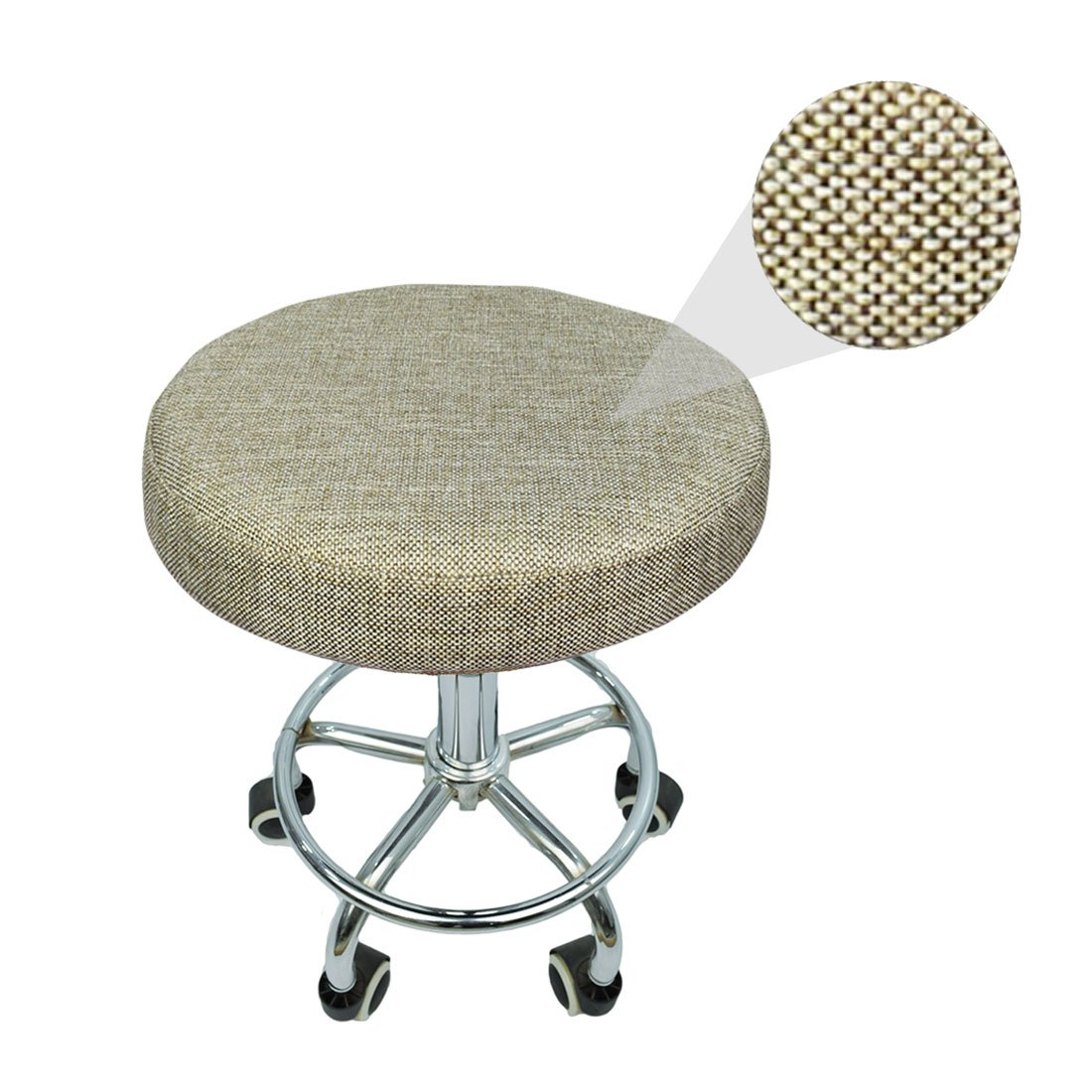 Rosavida 16 Inch Round Stool Cover en Linen with Elastic Anti-slip Round Seat Covers Protectors for Barstool #3