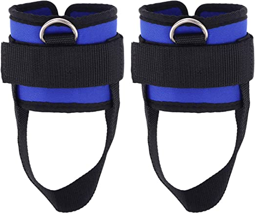 2pcs Sport Adjustable Ankle Weights Fitness Ankle D-Ring Strap for Weightlifting Leg Gym Workout Blue