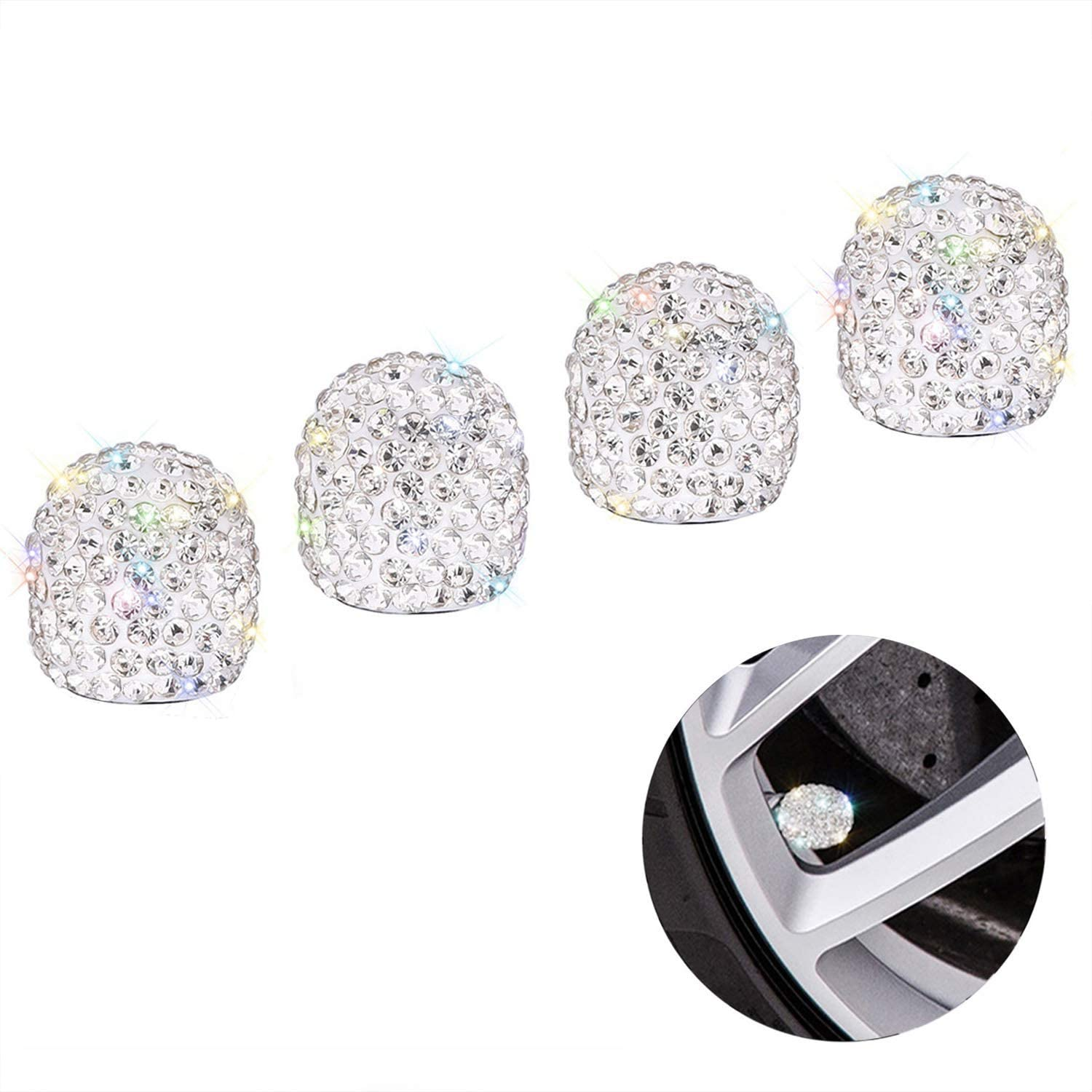 Tense Bling Valve Stem Caps Luxury Car Accessories for Women 4 Pack Bling Crystal Rhinestone Universal Tire Valve Caps with 2 Pack Bling Ring for Auto Star Engine Ignition Button Black