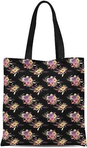 Dark floral print tote bag