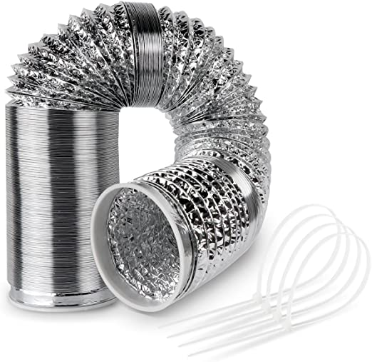 Canalizado Manguera de aluminio flexible para campana de aire acondicionado Campana de secado 125 mm 6 m con 4 unidades presilla: Amazon.es: Grandes electrodomésticos