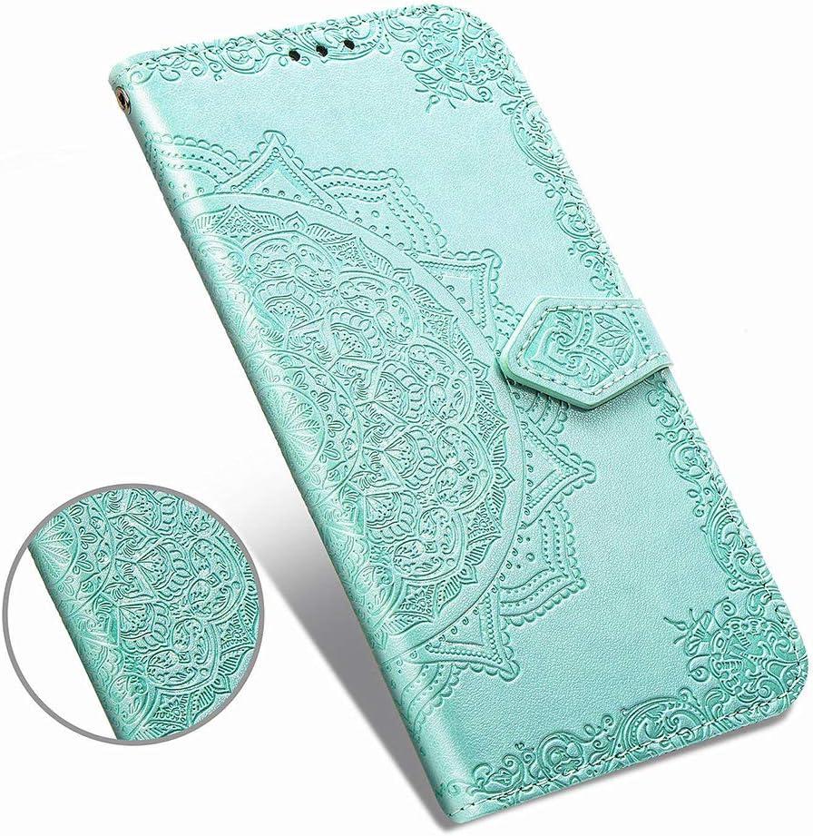 Azul Carcasa PU Leather con TPU Silicona Case Interna Suave Cierre Magn/ético Estuche de Cuero Estampado Mandala Libro de Cuero Flip Case MUSESHOP para Samsung Galaxy A51 Funda Libro