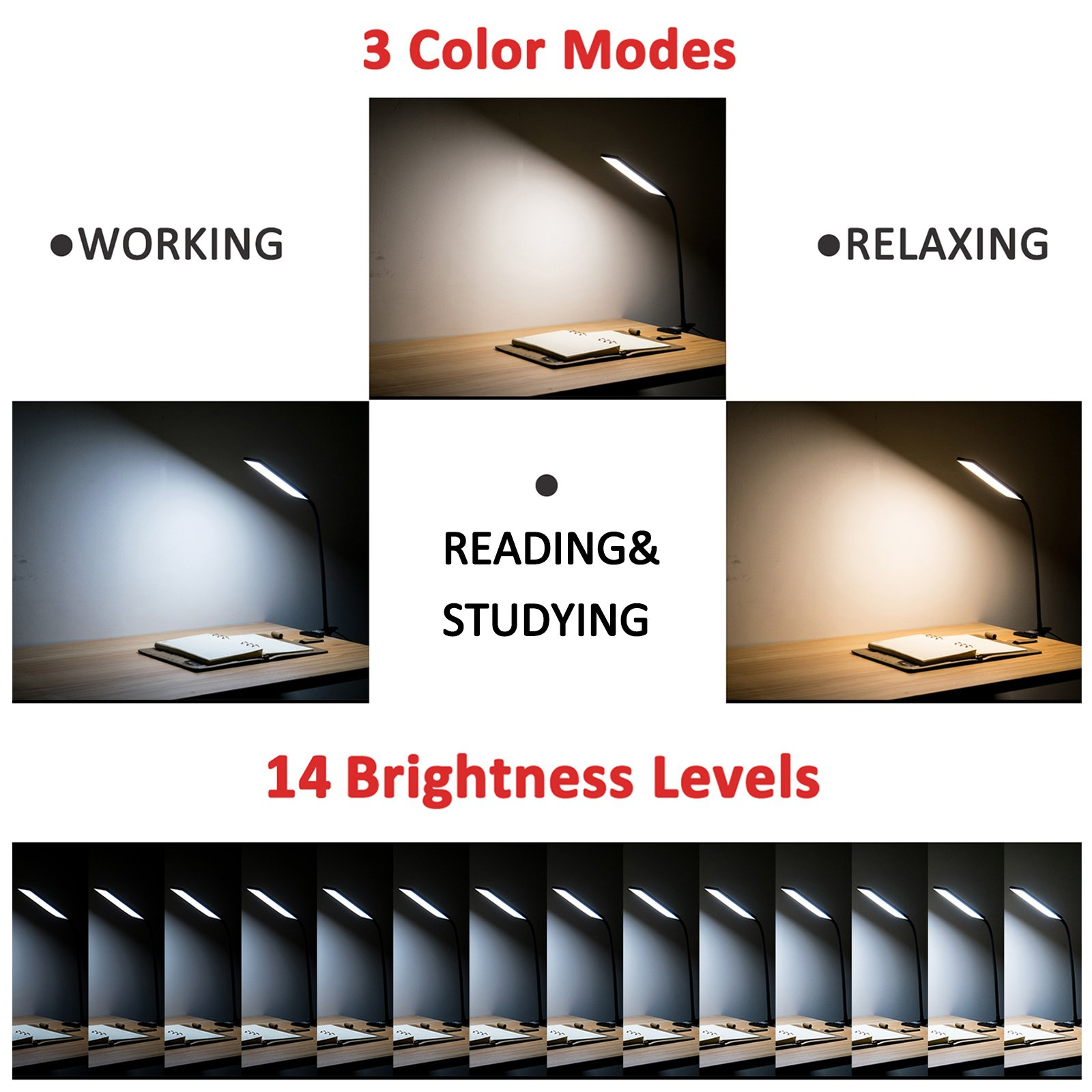 TOPESEL 5W 48 LEDs Dimmable Clip-on Led Desk Lamp, Eye-Care Flexible Gooseneck USB Clamp Reading Lamp, 3 Color Temperature, 14 Brightness Levels Table Lamp, Black by TOPESEL (Image #2)