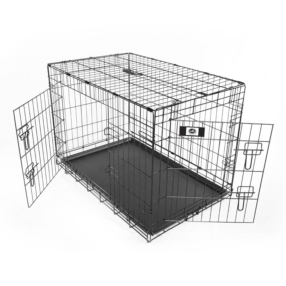 Pet Champion Deluxe 36 Inch Folding Portable 2-Door Wire Pet Crate Kennel, Large, Up to 70 Pounds by Pet Champion (Image #8)