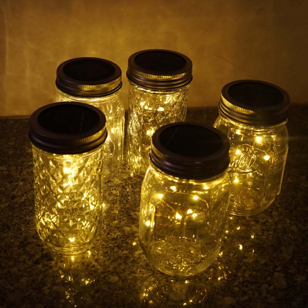 20 LED Solar Colorful Fairy String Lights Lids Insert for Garden Deck Patio Party Wedding Christmas Decorative Lighting Fit for Regular Mouth Jars /… Miaro 6 Pack Mason Jar Lights