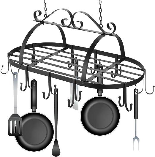Iron Hanging Pot Holder Pan Hanger Kitchen Storage Utility Cookware Hook Rack