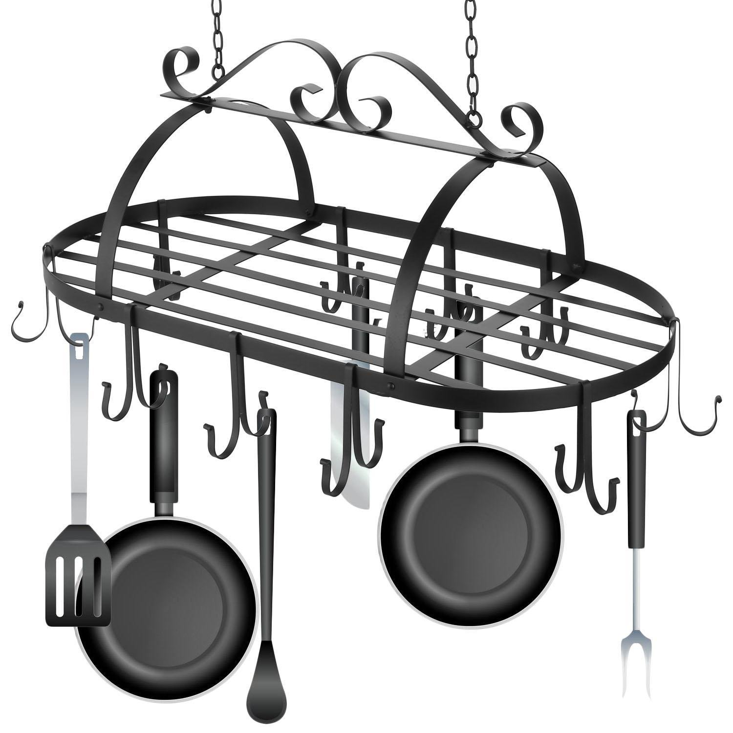 Ferty Kitchen Ceiling Mounted Oval Iron Hanging Pots Holder Pans Hanger Kitchen Storage Utility Cookware Hook Rack