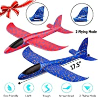 """WP 2 Pack Airplane Toy, 17.5"""" Large Throwing Foam Plane, Dual Flight Mode, Aeroplane Gliders, Flying Aircraft, Gifts for Kids, 3 4 5 6 7 Year Old Boy,Outdoor Sport Game Toys, Birthday Party Favors"""