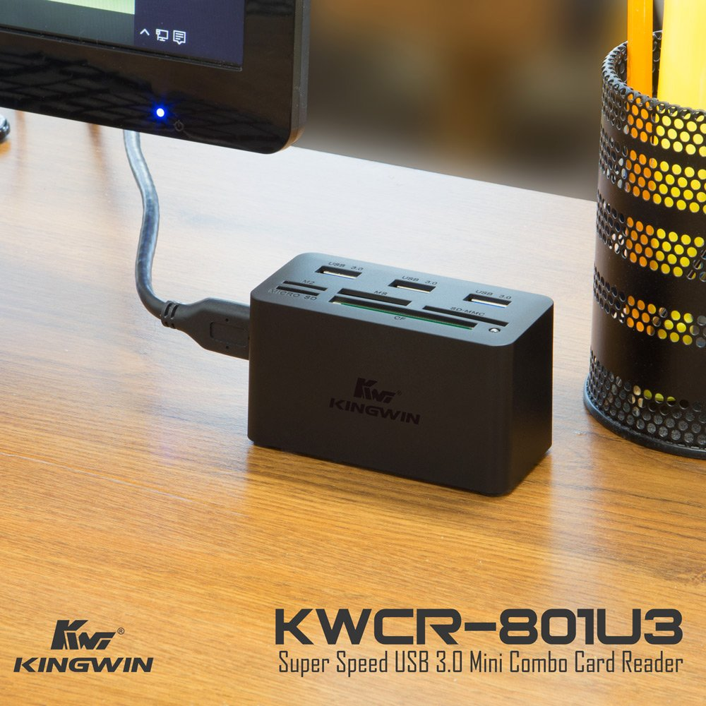 Kingwin KWCR-801U3 USB 3.0 Hub All-in-1 High Speed MS/Micro SD/M2/CF Card Reader+3 USB Ports Combo for PC, Laptop, Desktop,Macbook Air Pro, etc. Include USB cable up to 5 Gbps Speed by Kingwin