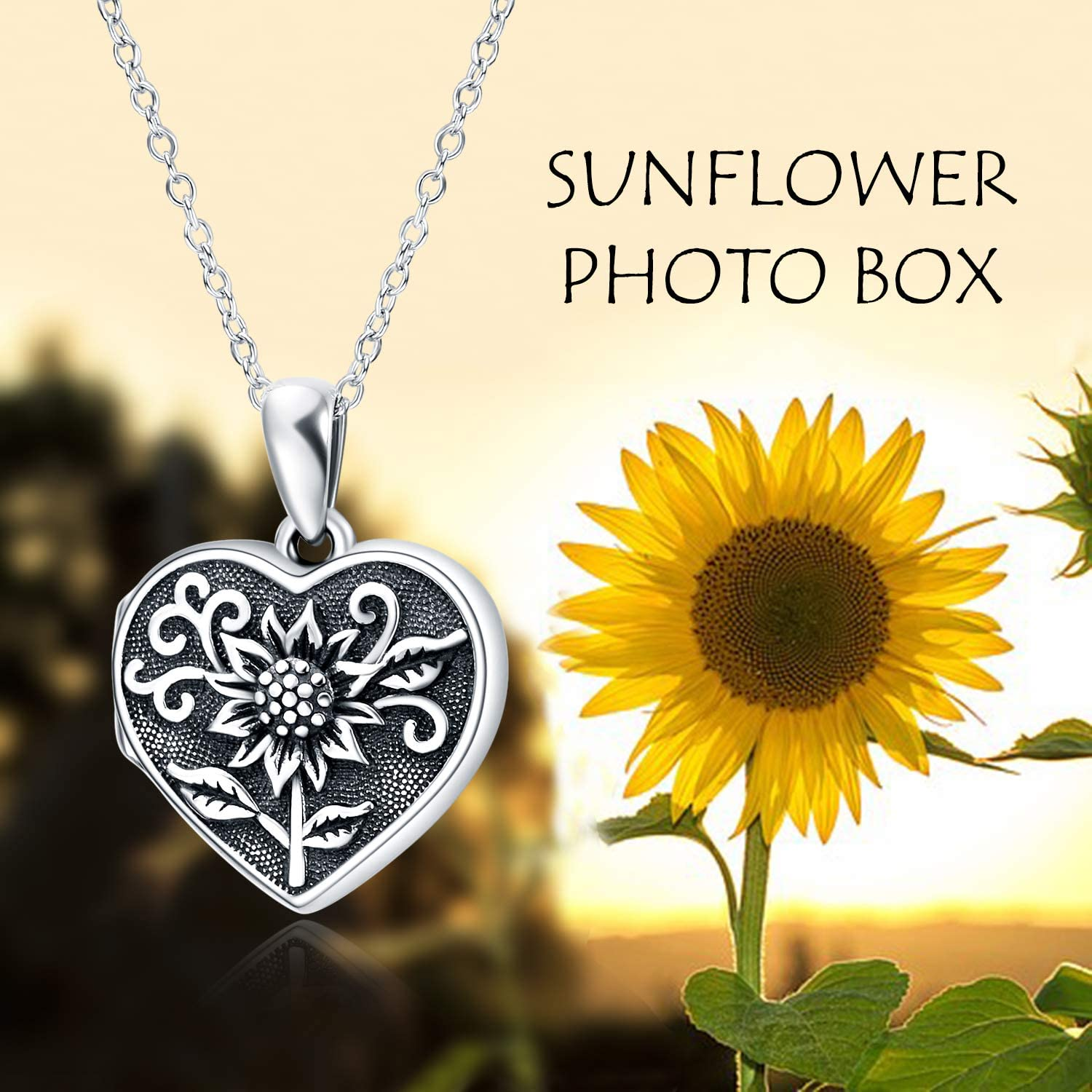 POPLYKE Sterling Silver Sunflower Heart Locket Necklace That Hold Picture Pendant Necklace Gifts for Women Wife Girlfriend