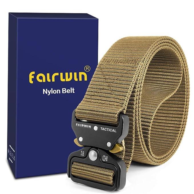Fairwin Cinturón táctico, cinturones de estilo militar, correas de cinturón web con hebilla de metal de liberación rápida y alta resistencia: Amazon.es: ...