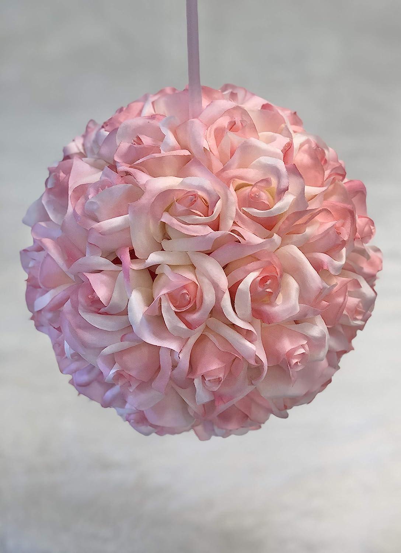 Garden Rose Kissing Ball - Pink - 10 inch Pomander