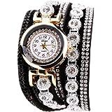 Rrimin Duoya Leather Bracelet Rhinestone Quartz Bracelet Watch For Women
