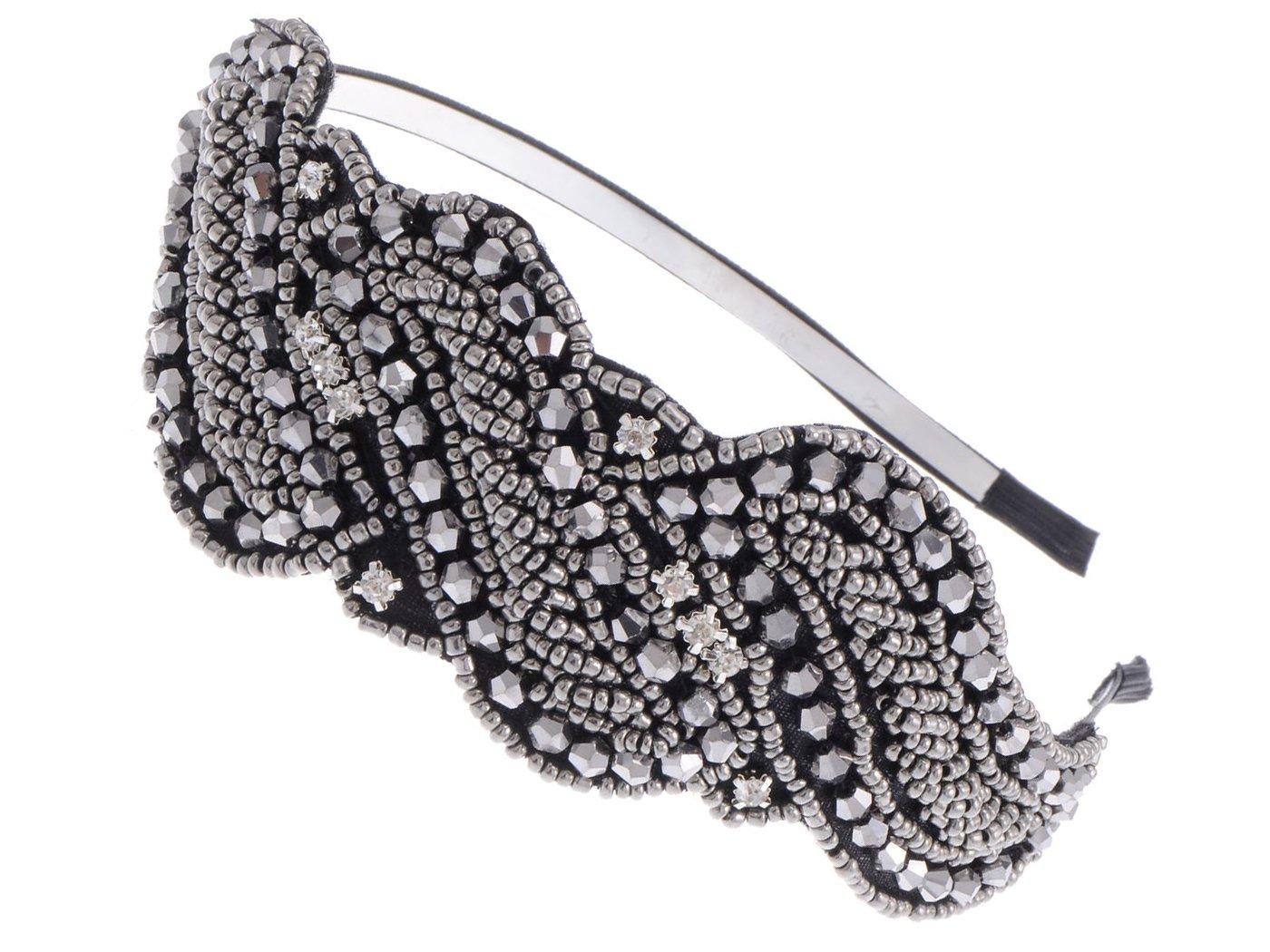 Alilang Metallic Gunmetal Grey Beaded Headband Rhinestone Crystal Accents