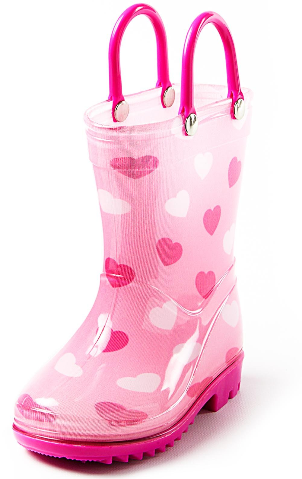 Puddle Play Toddler and Kids Rain Boots with Easy On Handles – Size 7 - Girls Pink Hearts Design – by
